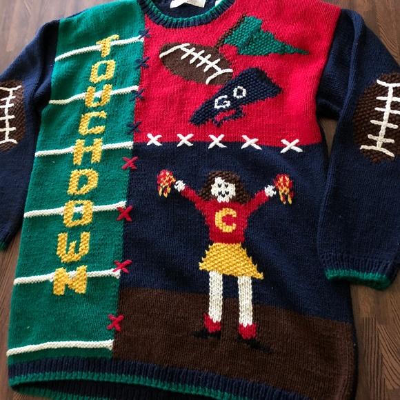 Karen Scott Sweaters Hand Knit Nfl Football Sweater Meduim Poshmark
